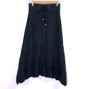 Anthropologie Lapis Black Knit Boho Peasant Skirt